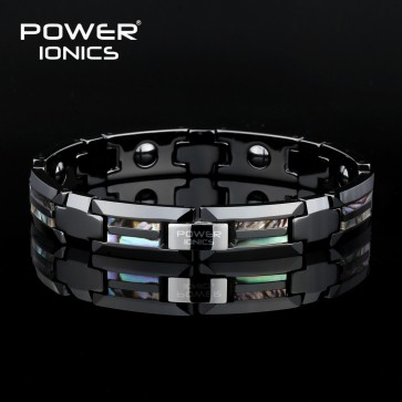 Power Ionics  Bio Ceramic Natural Shell Strong Magnetic Therapy Bracelet