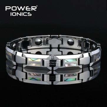 Power Ionics Tungsten Natural Shell Strong Magnetic Therapy Bracelet