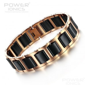 Power Ionics Golden Black Bio Ceramics Wide Style Fashion Bracelet