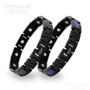 Power Ionics Black 100% Pure Titanium With Strong Magnetic Therapy Carbon Fiber Bracelet